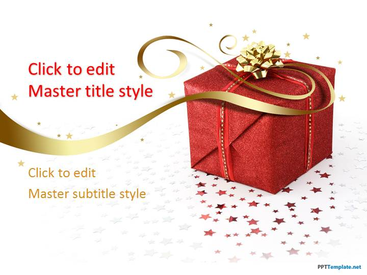 Free Red Gift Box PPT Template