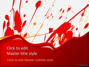 Free Red Paint Splash PPT Template