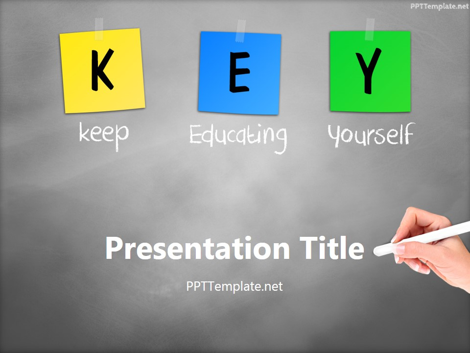 Free Key Chalk Hand White PPT Template