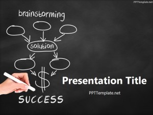 Free Brainstorming Success Chalk Hand Black PPT Template