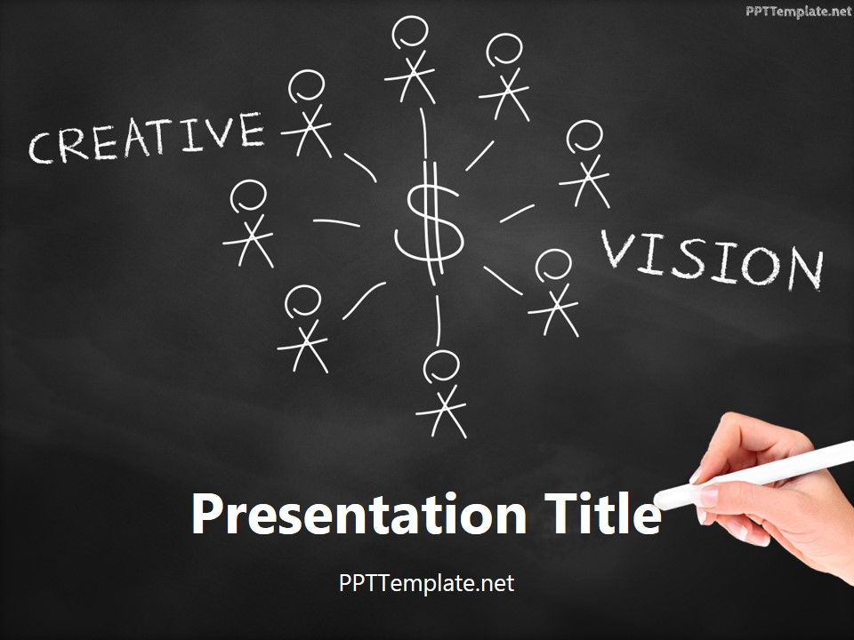 Free Creative Vision Chalk Hand Black PPT Template